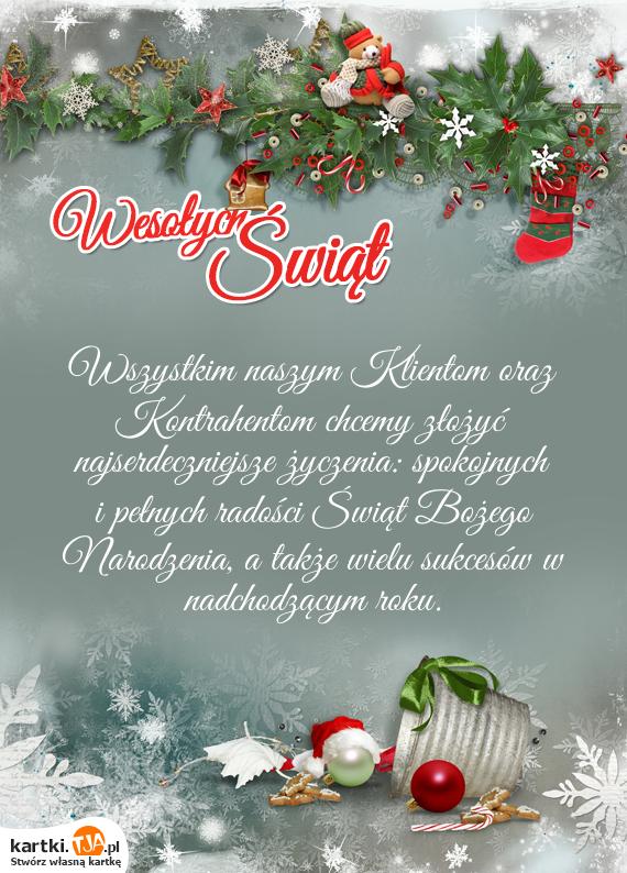 Wszystkim naszym Klientom oraz Kontrahentom chcemy złożyć najserdeczniejsze życzenia: spokojnych i pełnych radości Świąt <a href=http://zyczenia.tja.pl/bozonarodzeniowe title=Bożego Narodzenia>Bożego Narodzenia</a>, a także wielu sukcesów w nadchodzącym roku.