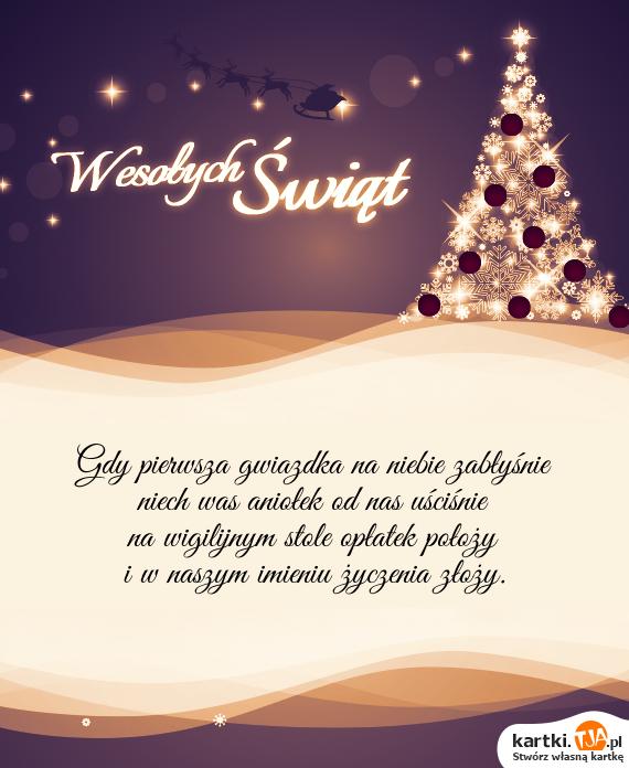 Gdy pierwsza gwiazdka na niebie zabłyśnie <br>niech was aniołek od nas uściśnie <br>na wigilijnym stole opłatek położy <br>i w naszym imieniu <a href=http://zyczenia.tja.pl/urodzinowe title=życzenia>życzenia</a> złoży.