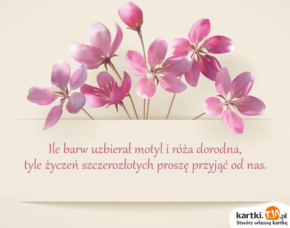 Ile barw uzbierał motyl i róża dorodna,<br>tyle życzeń szczerozłotych proszę przyjąć od nas.