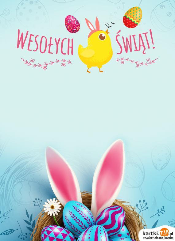 Kiedy nadejdzie Wielkanocy czas<br>Niech nastanie wiosna w każdym z nas...<br>Słonecznych kurczaczków, pisanek pastelowych,<br>Hojnego zająca, mazurków bakaliowych.<br>Puszystych bazi, słodkiego baranka,<br>Koszyka pyszności i dużo wody w dniu mokrego ubranka!