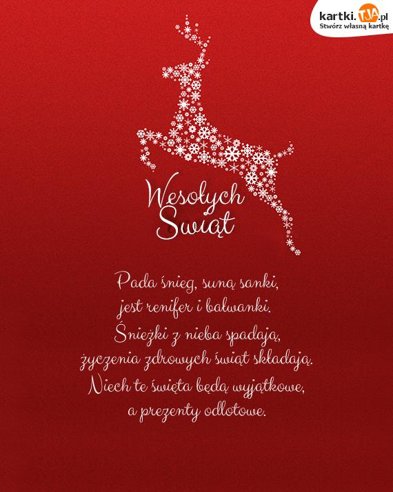 życzenia Pada śnieg Suną Sanki życzenia Bożonarodzeniowe