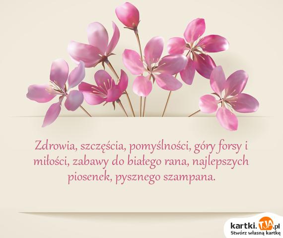 Zdrowia, szczęścia, pomyślności, góry forsy i <a href=http://zyczenia.tja.pl/milosne title=miłości>miłości</a>, zabawy do białego rana, najlepszych piosenek, pysznego szampana.