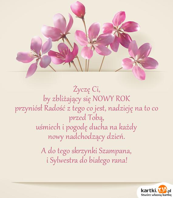 Życzę Ci,<br>by zbliżający się <a href=http://zyczenia.tja.pl/noworoczne title=NOWY ROK>NOWY ROK</a><br>przyniósł Radość z tego co jest, nadzieję na to co przed Tobą, <br>uśmiech i pogodę ducha na każdy <br>nowy nadchodzący dzień. <br><br>A do tego skrzynki Szampana, <br>i Sylwestra do białego rana!