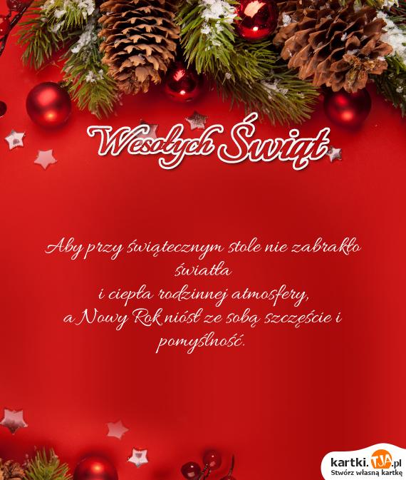 Aby przy świątecznym stole nie zabrakło światła<br>i ciepła rodzinnej atmosfery,<br>a <a href=http://zyczenia.tja.pl/noworoczne title=Nowy Rok>Nowy Rok</a> niósł ze sobą szczęście i pomyślność.