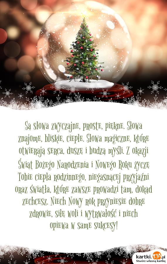 Są słowa zwyczajne, proste, piękne. Słowa znajome, bliskie, ciepłe. Słowa magiczne, które otwierają serca, duszę i budzą myśli. Z okazji Świąt <a href=http://zyczenia.tja.pl/bozonarodzeniowe title=Bożego Narodzenia>Bożego Narodzenia</a> i Nowego Roku życzę Tobie ciepła rodzinnego, niegasnącej przyjaźni oraz światła, które zawsze prowadzi tam, dokąd zechcesz. Niech Nowy  rok przyniesie dobre zdrowie, siłę woli i wytrwałość i niech opiewa w same sukcesy!<br>