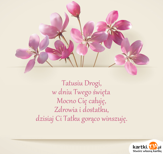 Tatusiu Drogi,<br>w dniu Twego <a href=http://zyczenia.tja.pl/swiateczne title=święta>święta</a><br>Mocno Cię całuję,<br>Zdrowia i dostatku,<br>dzisiaj Ci Tatku gorąco winszuję.