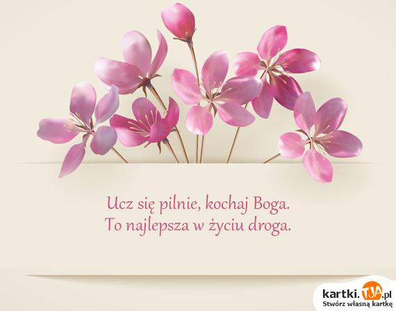 Ucz się pilnie, <a href=http://zyczenia.tja.pl/dla-zakochanych title=kochaj>kochaj</a> Boga.<br>To najlepsza w życiu droga.