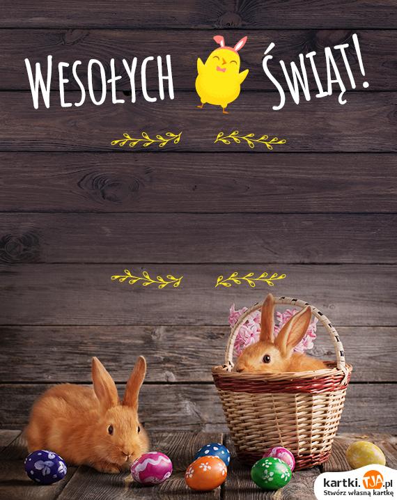 Wesołego jajka,<br>pięknego jak bajka,<br>sprytnego króliczka,<br>co wyskoczy z koszyczka,<br>kurczaka złotego,<br>Dyngusa mokrego,<br>wszystkiego najlepszego,<br><a href=http://zyczenia.tja.pl/wielkanocne title=Wesołego Alleluja>Wesołego Alleluja</a>!