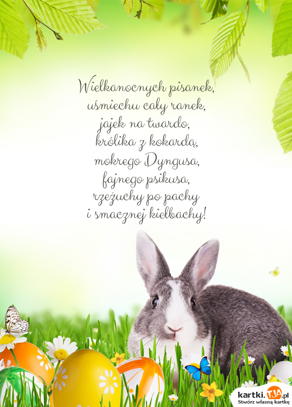 Wielkanocnych pisanek,<br>uśmiechu cały ranek,<br>jajek na twardo,<br>królika z kokardą,<br>mokrego Dyngusa,<br>fajnego psikusa,<br>rzeżuchy po pachy<br>i smacznej kiełbachy!