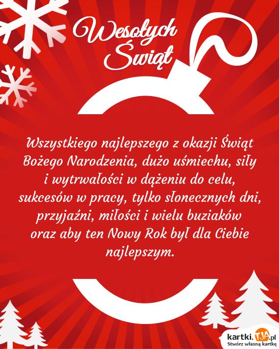 Wszystkiego najlepszego z okazji Świąt <a href=http://zyczenia.tja.pl/bozonarodzeniowe title=Bożego Narodzenia>Bożego Narodzenia</a>, dużo uśmiechu, siły i wytrwałości w dążeniu do celu, sukcesów w pracy, tylko słonecznych dni, przyjaźni, miłości i wielu buziaków oraz aby ten Nowy Rok był dla Ciebie najlepszym.